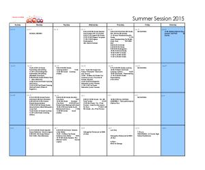 2015 Daruma All School Calendar